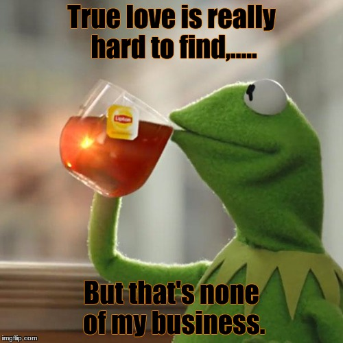 But Thats None Of My Business Meme | True love is really hard to find,..... But that's none of my business. | image tagged in memes,but thats none of my business,kermit the frog | made w/ Imgflip meme maker