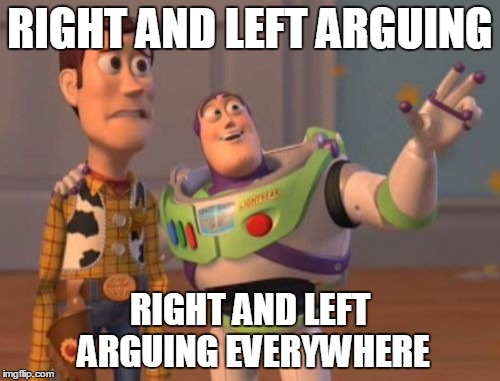 This especially true because of the Unite the Right thing in Charlottesville... | RIGHT AND LEFT ARGUING RIGHT AND LEFT ARGUING EVERYWHERE | image tagged in memes,x x everywhere,charlottesville,unite the right,left and right,politics lol | made w/ Imgflip meme maker