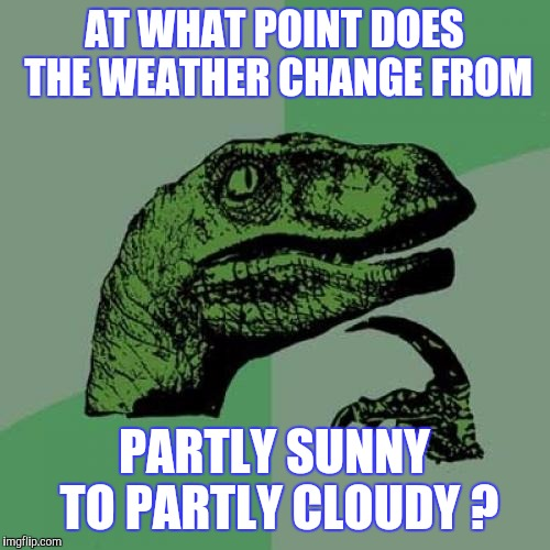 The Cloud That Broke The Camel's Back | AT WHAT POINT DOES THE WEATHER CHANGE FROM PARTLY SUNNY TO PARTLY CLOUDY ? | image tagged in memes,philosoraptor | made w/ Imgflip meme maker