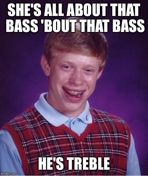 Brian's Got No Game | SHE'S ALL ABOUT THAT BASS 'BOUT THAT BASS HE'S TREBLE | image tagged in memes,bad luck brian,all about that bass,meghan trainor | made w/ Imgflip meme maker