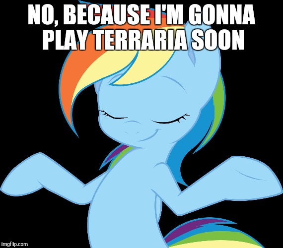 Yeah rd | NO, BECAUSE I'M GONNA PLAY TERRARIA SOON | image tagged in yeah rd | made w/ Imgflip meme maker