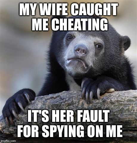 Confession Bear Meme | MY WIFE CAUGHT ME CHEATING IT'S HER FAULT FOR SPYING ON ME | image tagged in memes,confession bear | made w/ Imgflip meme maker