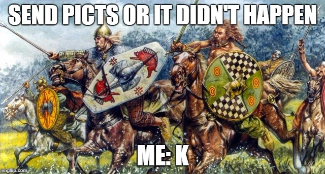 SEND PICTS OR IT DIDN'T HAPPEN ME: K | image tagged in picts battle | made w/ Imgflip meme maker