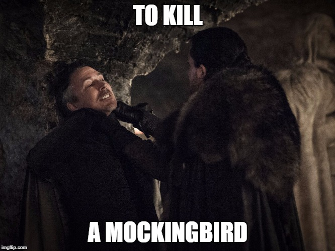 Littlefinger gets choked | TO KILL A MOCKINGBIRD | image tagged in littlefinger gets choked,game of thrones,season 7,littlefinger,jon snow,to kill a mockingbird | made w/ Imgflip meme maker
