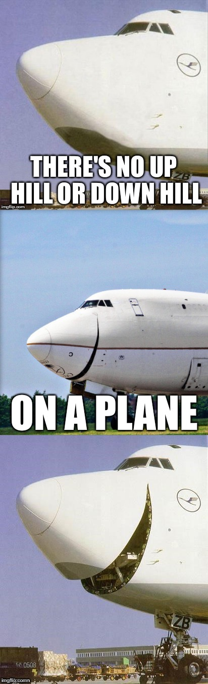 Just Plane Jokes | THERE'S NO UP HILL OR DOWN HILL ON A PLANE | image tagged in just plane jokes,memes,bad pun | made w/ Imgflip meme maker
