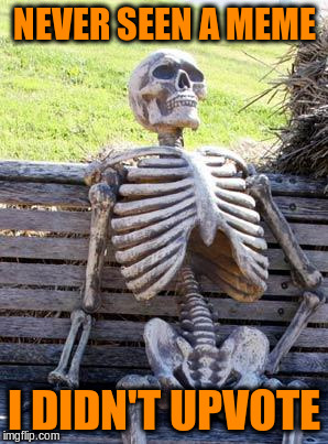 Waiting Skeleton Meme | NEVER SEEN A MEME I DIDN'T UPVOTE | image tagged in memes,waiting skeleton | made w/ Imgflip meme maker