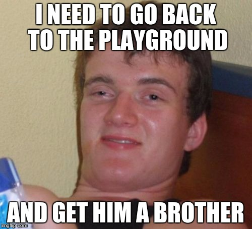 10 Guy Meme | I NEED TO GO BACK TO THE PLAYGROUND AND GET HIM A BROTHER | image tagged in memes,10 guy | made w/ Imgflip meme maker