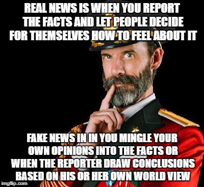 captain obvious | REAL NEWS IS WHEN YOU REPORT THE FACTS AND LET PEOPLE DECIDE FOR THEMSELVES HOW TO FEEL ABOUT IT FAKE NEWS IN IN YOU MINGLE YOUR OWN OPINION | image tagged in captain obvious | made w/ Imgflip meme maker