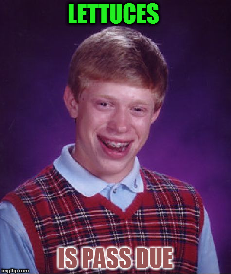 Bad Luck Brian Meme | LETTUCES IS PASS DUE | image tagged in memes,bad luck brian | made w/ Imgflip meme maker
