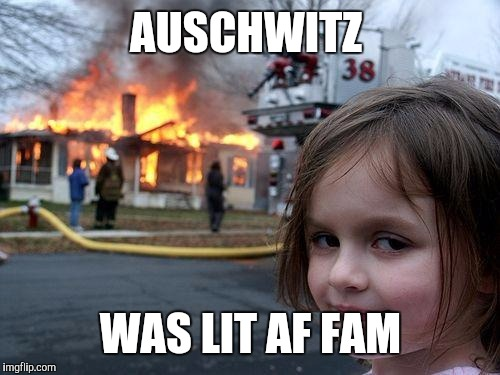 Disaster Girl Meme | AUSCHWITZ WAS LIT AF FAM | image tagged in memes,disaster girl | made w/ Imgflip meme maker