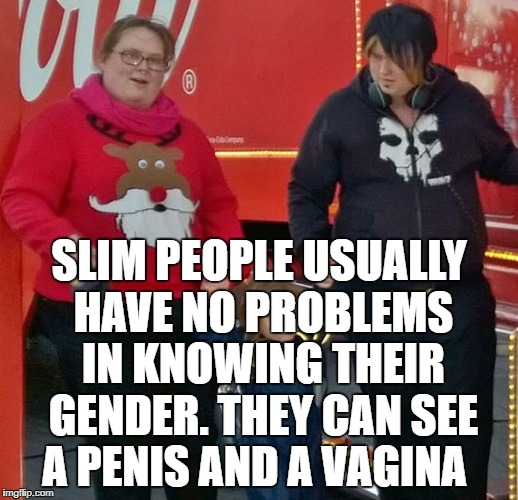 SLIM PEOPLE USUALLY HAVE NO PROBLEMS IN KNOWING THEIR GENDER. THEY CAN SEE A P**IS AND A VA**NA | image tagged in gender | made w/ Imgflip meme maker