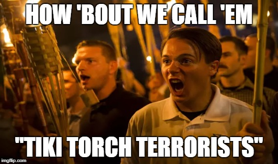 "HOW 'BOUT WE CALL 'EM ""TIKI TORCH TERRORISTS"" 