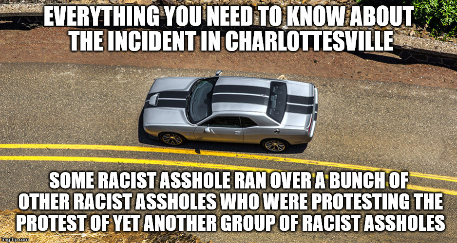Protesting At It's Finest | EVERYTHING YOU NEED TO KNOW ABOUT THE INCIDENT IN CHARLOTTESVILLE SOME RACIST ASSHOLE RAN OVER A BUNCH OF OTHER RACIST ASSHOLES WHO WERE PRO | image tagged in charlottesville,blm,antifa,funny,cars,dodge | made w/ Imgflip meme maker