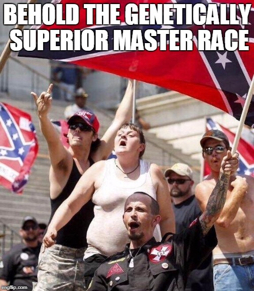 FREE DUMB!!!!!! | BEHOLD THE GENETICALLY SUPERIOR MASTER RACE | image tagged in nazi white supremecy | made w/ Imgflip meme maker