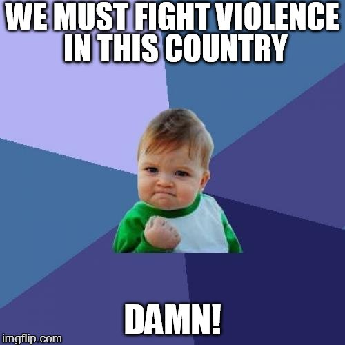 Success Kid Meme | WE MUST FIGHT VIOLENCE IN THIS COUNTRY DAMN! | image tagged in memes,success kid | made w/ Imgflip meme maker