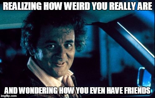 Legal Bill Murray |  REALIZING HOW WEIRD YOU REALLY ARE; AND WONDERING HOW YOU EVEN HAVE FRIENDS | image tagged in memes,legal bill murray | made w/ Imgflip meme maker