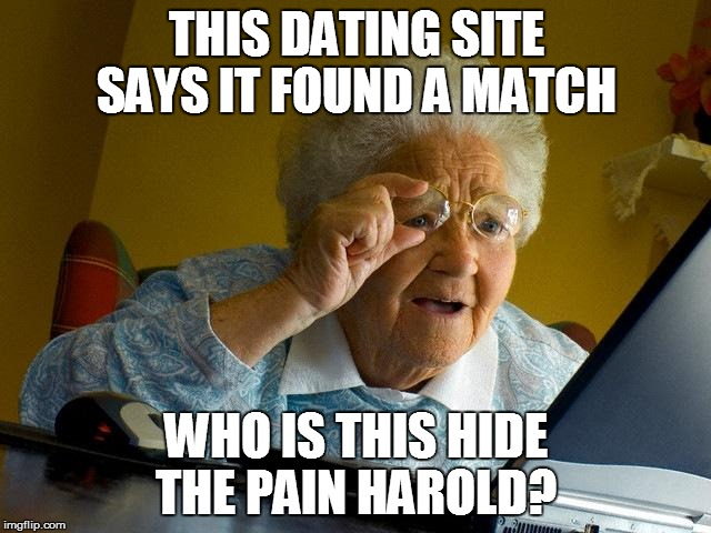 Grandma Finds The Internet Meme | THIS DATING SITE SAYS IT FOUND A MATCH WHO IS THIS HIDE THE PAIN HAROLD? | image tagged in memes,grandma finds the internet | made w/ Imgflip meme maker