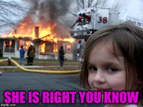 Disaster Girl Meme | SHE IS RIGHT YOU KNOW | image tagged in memes,disaster girl | made w/ Imgflip meme maker