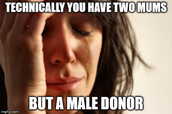 First World Problems Meme | TECHNICALLY YOU HAVE TWO MUMS BUT A MALE DONOR | image tagged in memes,first world problems | made w/ Imgflip meme maker