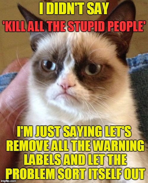 Today was going great until, people. | I DIDN'T SAY I'M JUST SAYING LET'S REMOVE ALL THE WARNING LABELS AND LET THE PROBLEM SORT ITSELF OUT 'KILL ALL THE STUPID PEOPLE' | image tagged in memes,grumpy cat,funny,stupid people,stupid,kill stupid people | made w/ Imgflip meme maker