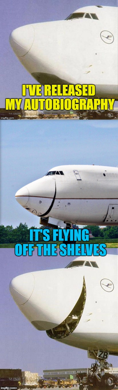 Perhaps it should be an auto-pilot-biography :) | I'VE RELEASED MY AUTOBIOGRAPHY IT'S FLYING OFF THE SHELVES | image tagged in just plane jokes,memes,planes,books,flying | made w/ Imgflip meme maker
