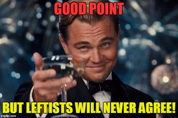 Leonardo Dicaprio Cheers Meme | GOOD POINT BUT LEFTISTS WILL NEVER AGREE! | image tagged in memes,leonardo dicaprio cheers | made w/ Imgflip meme maker