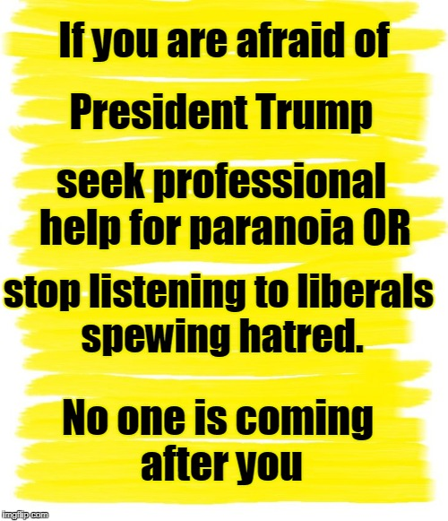 Attention Yellow Background |  If you are afraid of; President Trump; seek professional help for paranoia OR; stop listening to liberals spewing hatred. No one is coming after you | image tagged in attention yellow background | made w/ Imgflip meme maker