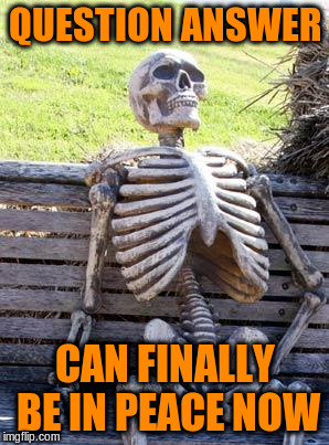Waiting Skeleton Meme | QUESTION ANSWER CAN FINALLY BE IN PEACE NOW | image tagged in memes,waiting skeleton | made w/ Imgflip meme maker