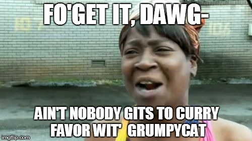 Aint Nobody Got Time For That Meme | FO'GET IT, DAWG- AIN'T NOBODY GITS TO CURRY FAVOR WIT'  GRUMPYCAT | image tagged in memes,aint nobody got time for that | made w/ Imgflip meme maker