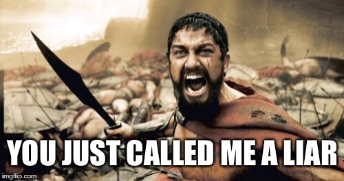 Sparta Leonidas Meme | YOU JUST CALLED ME A LIAR | image tagged in memes,sparta leonidas | made w/ Imgflip meme maker