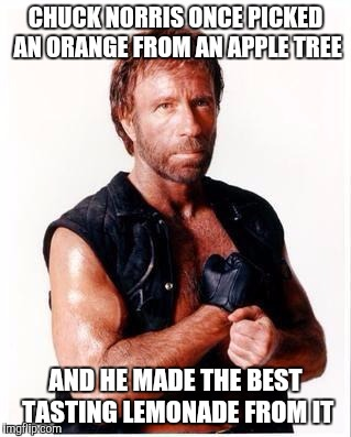 Chuck Norris Flex | CHUCK NORRIS ONCE PICKED AN ORANGE FROM AN APPLE TREE AND HE MADE THE BEST TASTING LEMONADE FROM IT | image tagged in memes,chuck norris flex,chuck norris | made w/ Imgflip meme maker