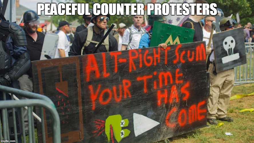 Can we agree that hate and violence are present on all sides and should be condemned by all?  | PEACEFUL COUNTER PROTESTERS | image tagged in charlottesville,protesters,memes | made w/ Imgflip meme maker