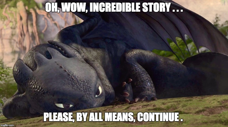 OH, WOW, INCREDIBLE STORY . . . PLEASE, BY ALL MEANS, CONTINUE . | image tagged in how to train your dragon,toothless | made w/ Imgflip meme maker