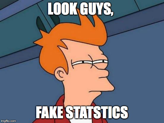Futurama Fry Meme | LOOK GUYS, FAKE STATSTICS | image tagged in memes,futurama fry | made w/ Imgflip meme maker