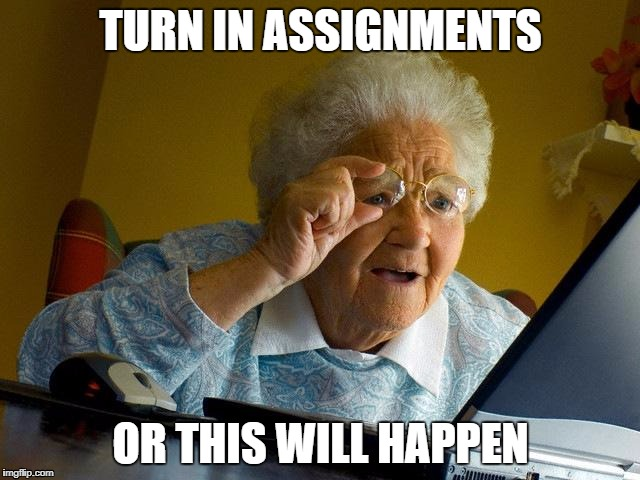Grandma Finds The Internet Meme | TURN IN ASSIGNMENTS OR THIS WILL HAPPEN | image tagged in memes,grandma finds the internet | made w/ Imgflip meme maker