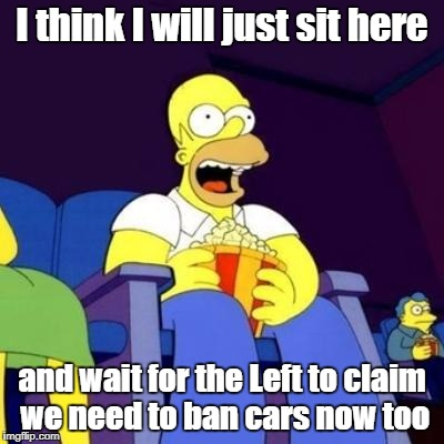 Homer eating popcorn | I think I will just sit here and wait for the Left to claim we need to ban cars now too | image tagged in homer eating popcorn | made w/ Imgflip meme maker