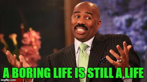 Steve Harvey Meme | A BORING LIFE IS STILL A LIFE | image tagged in memes,steve harvey | made w/ Imgflip meme maker