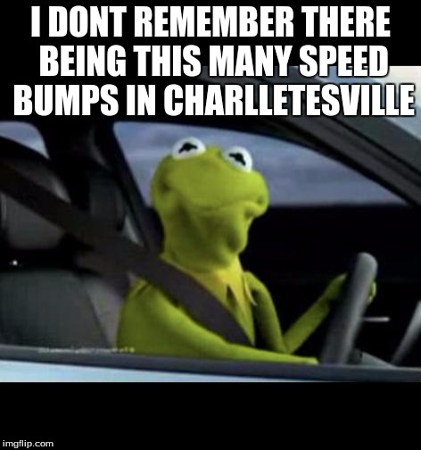 Kermit Driving |  I DONT REMEMBER THERE BEING THIS MANY SPEED BUMPS IN CHARLLETESVILLE | image tagged in kermit driving | made w/ Imgflip meme maker