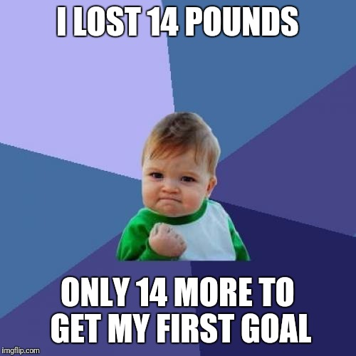 Success Kid Meme | I LOST 14 POUNDS ONLY 14 MORE TO GET MY FIRST GOAL | image tagged in memes,success kid | made w/ Imgflip meme maker