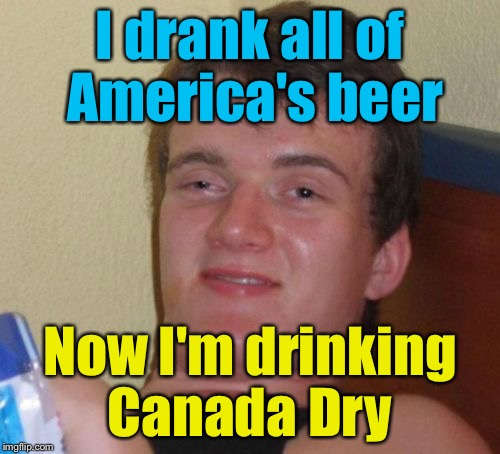 10 Guy Meme | I drank all of America's beer Now I'm drinking Canada Dry | image tagged in memes,10 guy,canada dry | made w/ Imgflip meme maker
