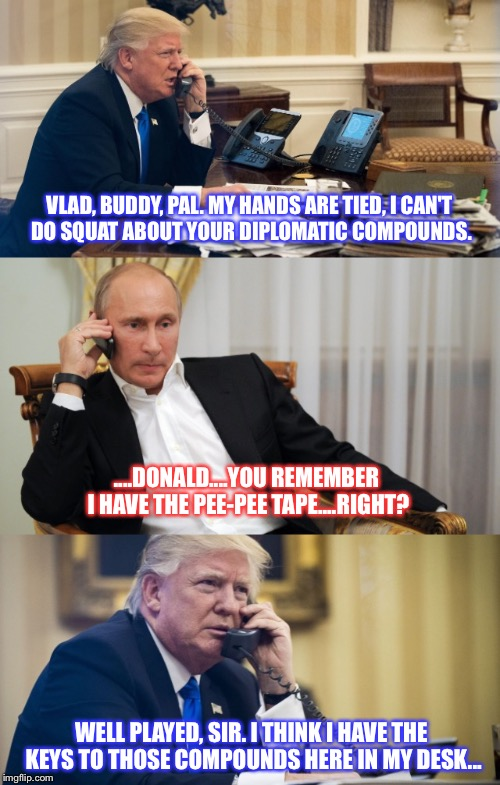 Donny Calls His Bud Vlad | VLAD, BUDDY, PAL. MY HANDS ARE TIED, I CAN'T DO SQUAT ABOUT YOUR DIPLOMATIC COMPOUNDS. WELL PLAYED, SIR. I THINK I HAVE THE KEYS TO THOSE CO | image tagged in donald trump,vladimir putin,pee,russia,hooker,phone | made w/ Imgflip meme maker