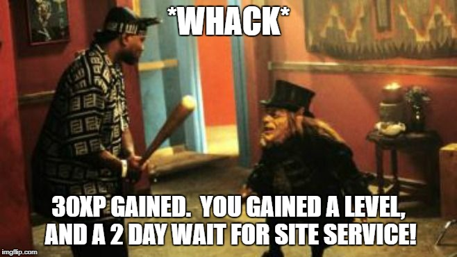thug lep fight | *WHACK* 30XP GAINED.  YOU GAINED A LEVEL, AND A 2 DAY WAIT FOR SITE SERVICE! | image tagged in thug lep fight | made w/ Imgflip meme maker