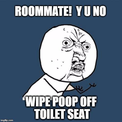 I'm seriously sick of having to clean my roomie's smears! | ROOMMATE!  Y U NO WIPE POOP OFF TOILET SEAT | image tagged in memes,y u no | made w/ Imgflip meme maker