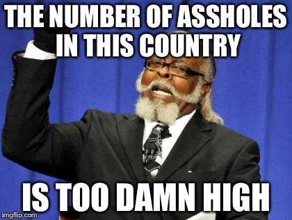 Too Damn High Meme | THE NUMBER OF ASSHOLES IN THIS COUNTRY IS TOO DAMN HIGH | image tagged in memes,too damn high | made w/ Imgflip meme maker