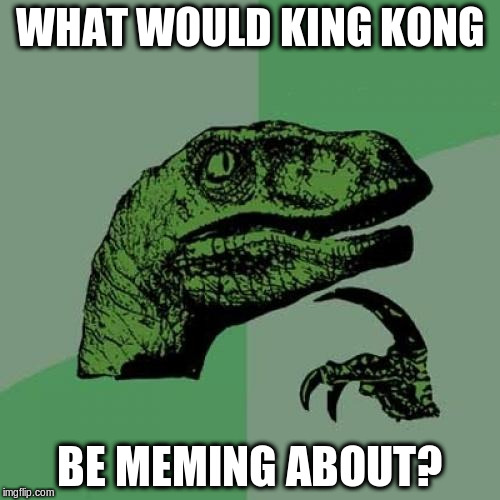 Philosoraptor Meme | WHAT WOULD KING KONG BE MEMING ABOUT? | image tagged in memes,philosoraptor | made w/ Imgflip meme maker