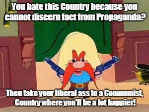 You hate this Country because you cannot discern fact from Propaganda? Then take your liberal ass to a Communist, Country where you'll be a  | image tagged in republican propaganda yosemite sam | made w/ Imgflip meme maker