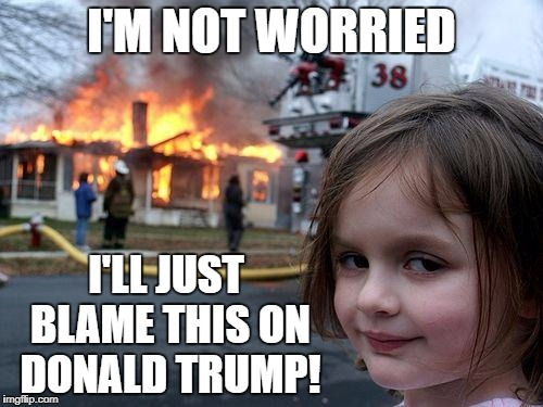 Disaster Girl Meme | I'M NOT WORRIED I'LL JUST BLAME THIS ON DONALD TRUMP! | image tagged in memes,disaster girl | made w/ Imgflip meme maker