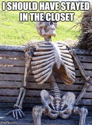 Waiting Skeleton Meme | I SHOULD HAVE STAYED IN THE CLOSET | image tagged in memes,waiting skeleton | made w/ Imgflip meme maker