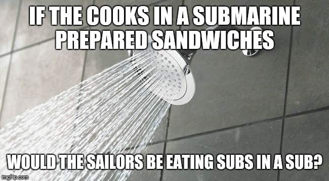 Shower Thoughts | IF THE COOKS IN A SUBMARINE PREPARED SANDWICHES WOULD THE SAILORS BE EATING SUBS IN A SUB? | image tagged in shower thoughts | made w/ Imgflip meme maker