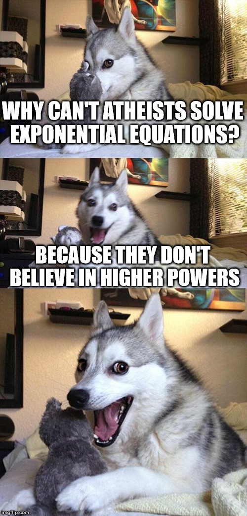 Atheists + mathematics = . . . | WHY CAN'T ATHEISTS SOLVE EXPONENTIAL EQUATIONS? BECAUSE THEY DON'T BELIEVE IN HIGHER POWERS | image tagged in memes,bad pun dog,athiest,exponential equations,higher powers | made w/ Imgflip meme maker